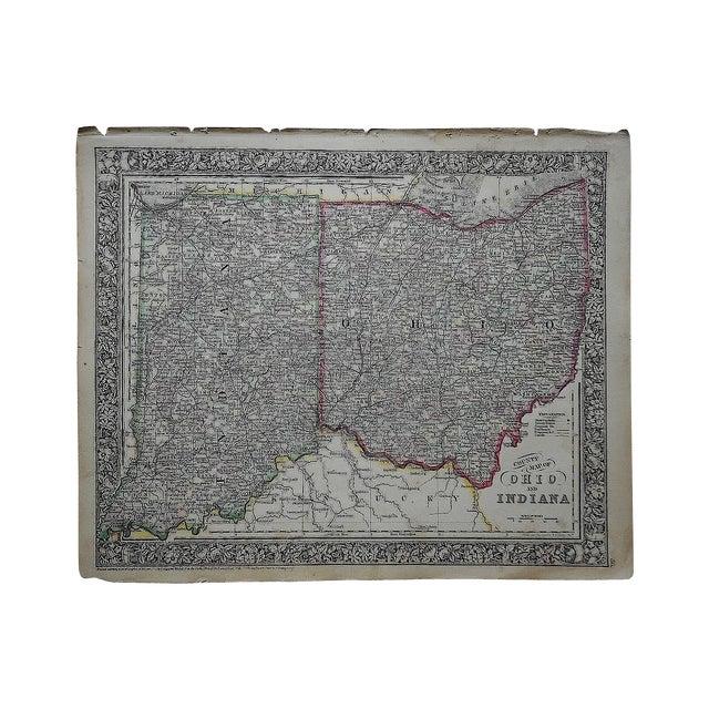 Antique 1862 Ohio & Indiana Folio Size Map - Image 1 of 3