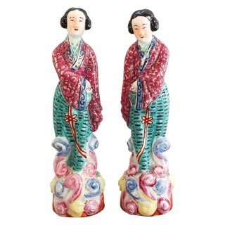 Antique Chinese Famille Rose Statues - Pair
