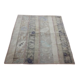 Turkish Vintage Overdyed Patchwork Oushak Rug - 3′8″ × 4′