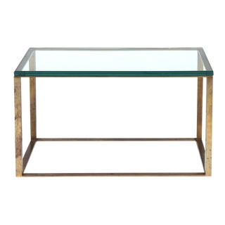 American Glass Top Open Box Form Brass Frame Cocktail Table