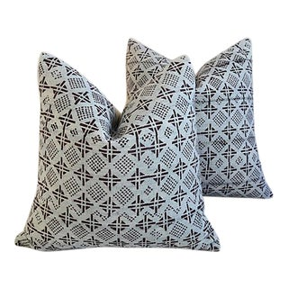 "22"" Custom Tailored Cotton & Linen Abstract Feather/Down Pillows - Pair"