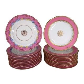 19th Century English Porcelain Plates - Set of 21