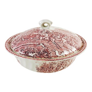 Equestrian Transferware Covered Bowl