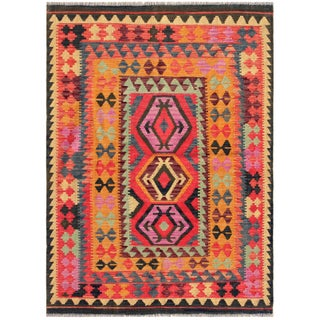 "Vintage Turkish Kilim Area Rug - 4'9"" X 6'7"""