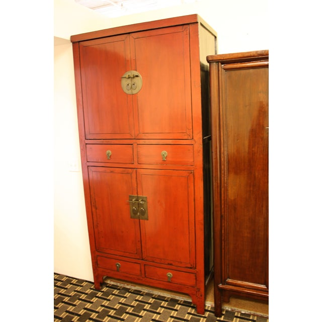 McGuire Asian Antiquity Red Black Lacquer Cabinet - Image 5 of 9