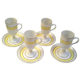 Yellow Stripe Demitasse & Saucers - Set of 4