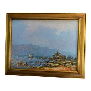 Impressionist Lake Giltwood Landscape Oil On Canvas Painting
