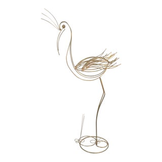 Mid-Century Modern Brass Flamingo Sculpture