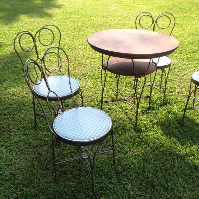 Vintage Ice Cream Parlor Table Set- 5 Pieces - Image 3 of 11