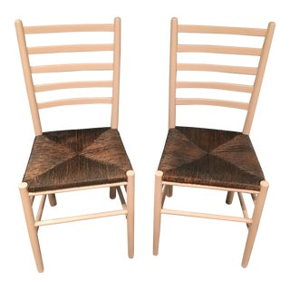 Ladderback Chairs with Rush Seats - A Pair
