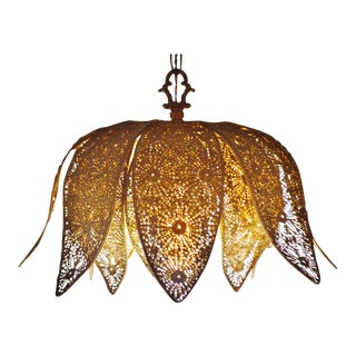 Vintage Moroccan Reticulated Metal Lotus Flower Pendant Light