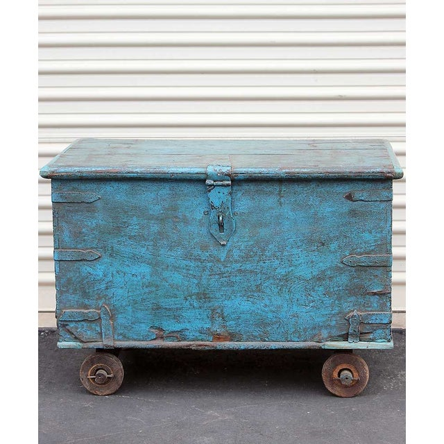 Vintage Teal Wheeled Wood Chest - Image 3 of 5
