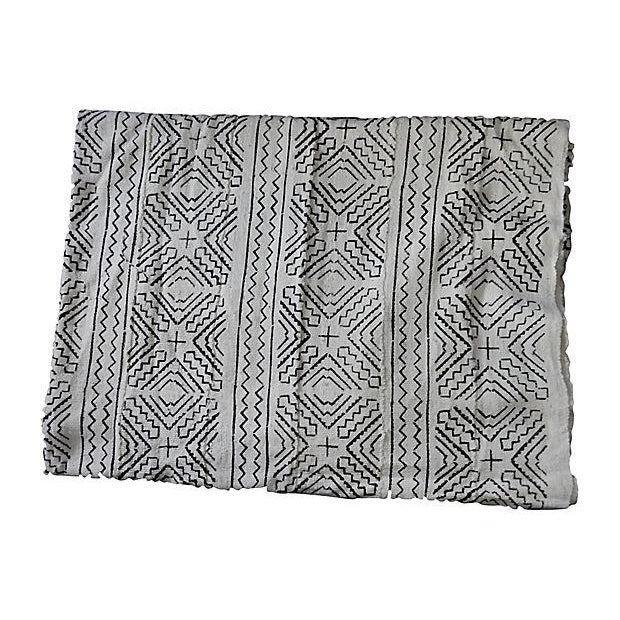Lg Black & White Mali Mud Cloth Textile - Image 6 of 7