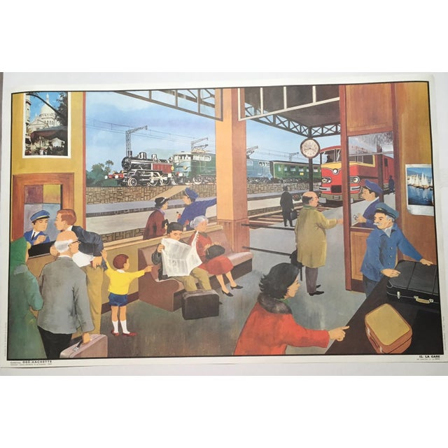 "Vintage French School Two-Sided Poster - ""La Ferme/La Gare"" - Image 3 of 3"