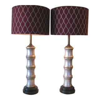 Faux Bamboo Silver Ceramic Lamps - A Pair