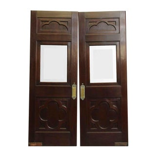 Clover Burled Walnut Doors With Push Plates - A Pair