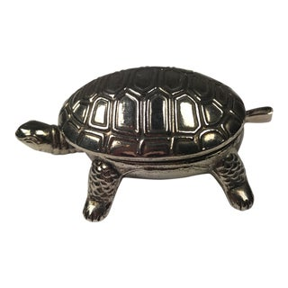Vintage Silver Turtle Pill Box