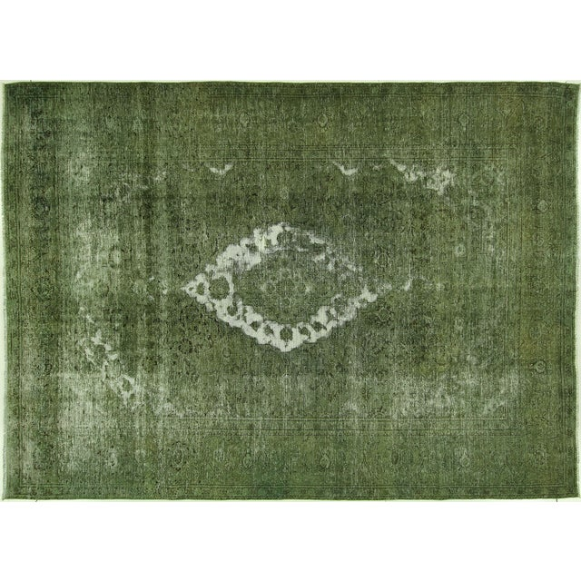 Traditional Green Overdyed Area Rug - 8' x 11' - Image 1 of 10