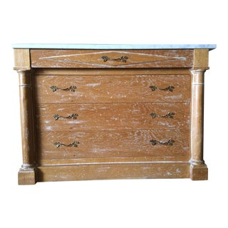 Distressed Marble Top 4 Drawer Dresser