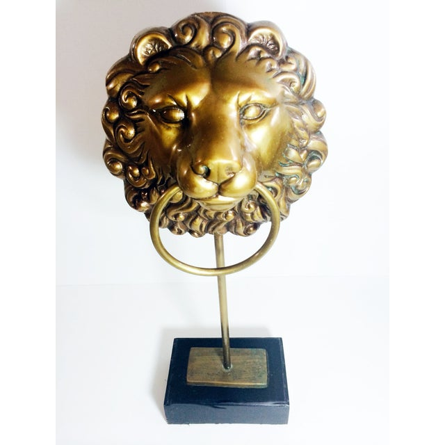 Vintage Lion Head Doorknocker on Wood Stand - Image 3 of 5