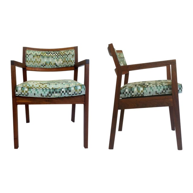 Mid-Century Walnut Upholstered Armchairs - A Pair - Image 1 of 7