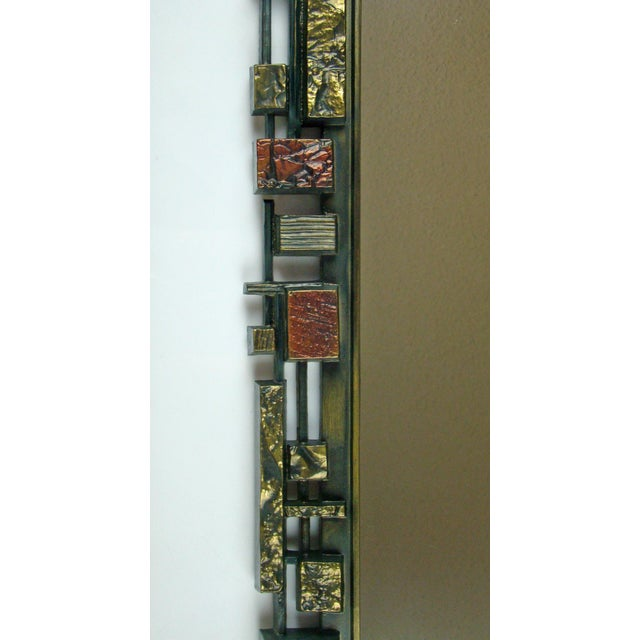 Syroco Paul Evans Style Brutalist Mid-Century Modern Wall Mirror - Image 6 of 9