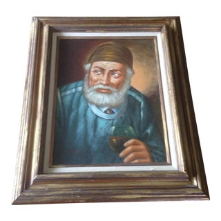 Oil Painting of an Old Man in Blue