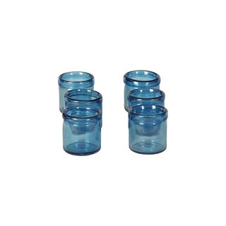Hand-Blown Blue Glass Votive Holders - Set of 6