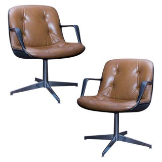 Pair of Charles Pollock Style Steelcase Brown Leather Executive Chairs