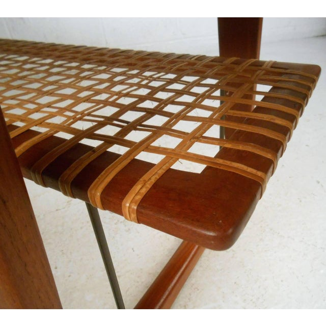 Peter hvidt style teak cane shelf coffee table chairish for Cie no 85 table 4