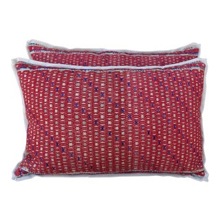 Pair of Cotton Woven Hmong Red Pillows