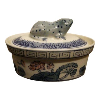 Blue & White Ceramic Frog Dish