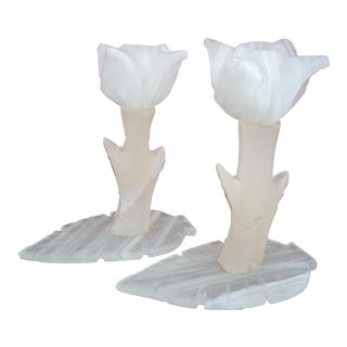 White Onyx Candlesticks - A Pair