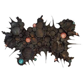 Large Scaled Mid-Century Wall Sculpture in Blackened Steel and Ceramic, France circa 1965