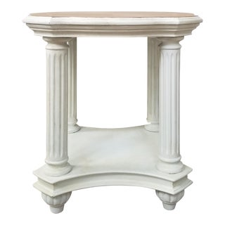 Vintage White Wooden End Table