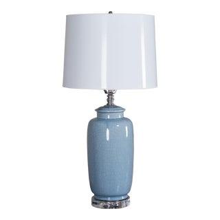 Vintage Smoky Blue Crackle Ceramic Vase Lamp American circa 1975