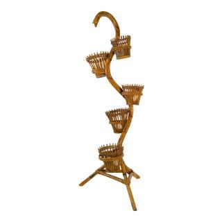 Vintage Bamboo Planter & Baskets