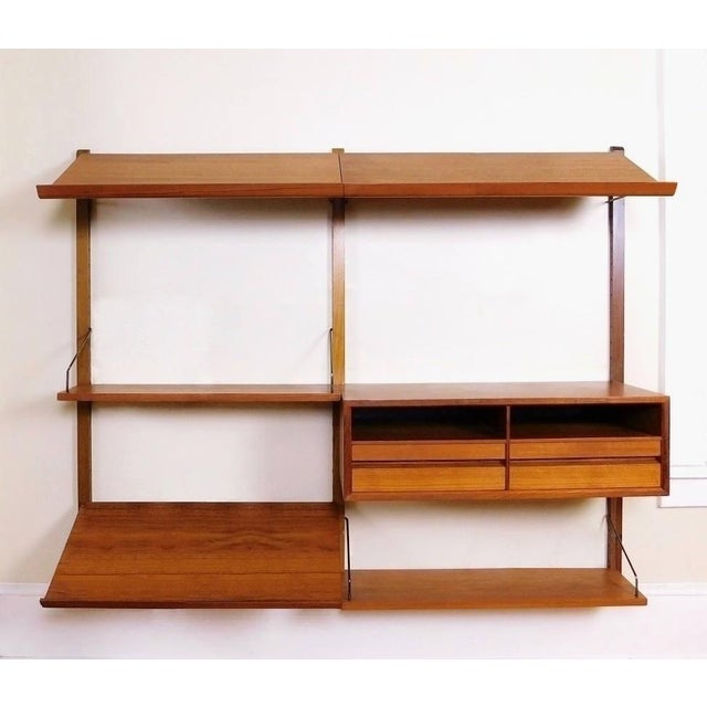 Danish Modern Teak Floating Adjustable Desk Wall Unit Bookcase by Carlo Jensen for Hundevad & Co - Image 9 of 9