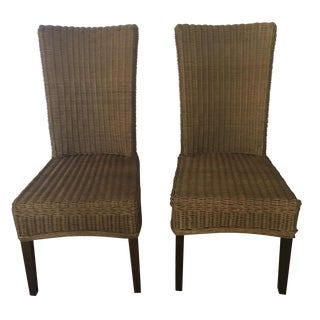 Pottery Barn Rattan Dining Chairs - Pair