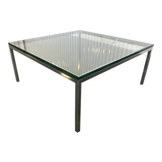 Florence Knoll Mid-Century Modern Square Chrome & Glass Coffee Table