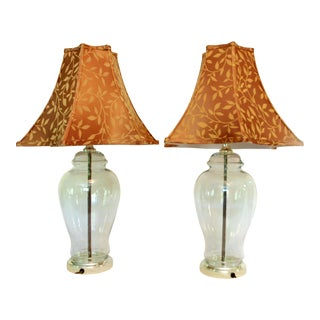 Glass Ginger Jar Lamps With Shades - A Pair