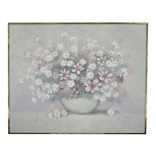 Vintage Bohemian Textured Floral Painting