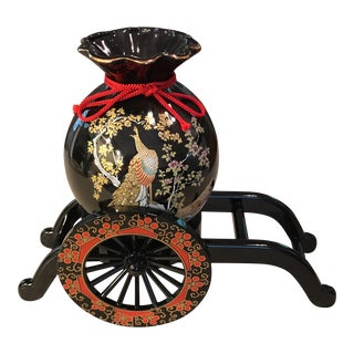 Japanese Peacock Vase With Wagon