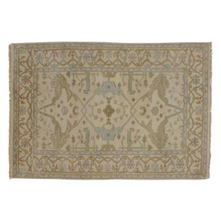 Indian Oushak Wool Pile Rug- 4′1″ × 6′