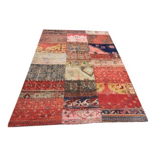 Vintage Turkish Patchwork Oushak Rug - 5′ × 7′8″