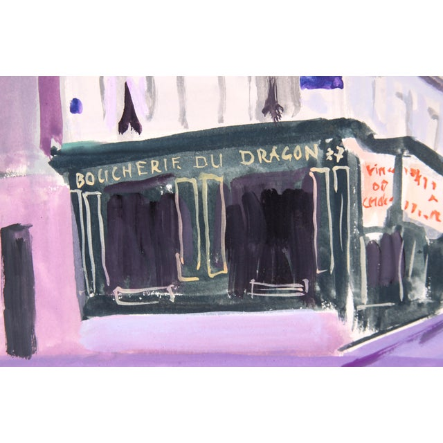 Image of Boucherie Du Dragon in the Evening Painting by Edith Alder