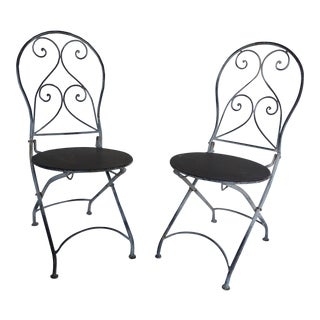 French Style Children's Folding Iron Chairs - A Pair
