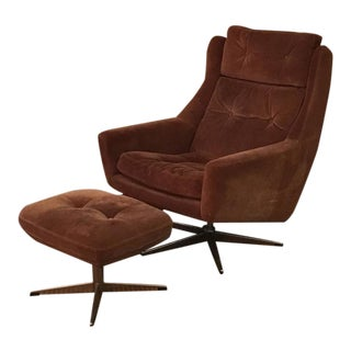 Scandinavian Modern Reclining Swivel Suede Lounge Chair & Ottoman by John Stuart