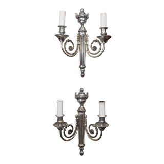 Pair of French Silvered Metal Sconces