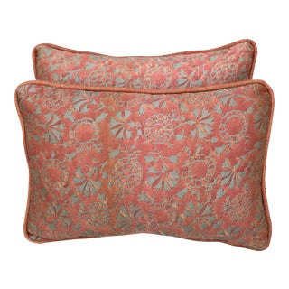 Fortuny Coral & Silver Pillows- A Pair